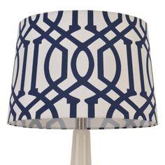 Threshold™ Trellis Print Modified Drum Lamp Shade Nighttime Blue