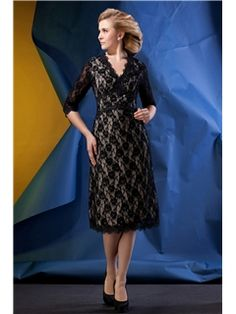 $ 114.99 Romantic Lace Sheath/Column V-Neck Half-Sleeves Tea-length Alina's Mother of the Bride dress
