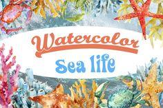 Watercolor sea life SUPER SET by Anastasia Lembrik on Creative Market