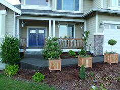 Pretty Front Porch: DIY Large Cedar Planter Boxes – Engineering A Home Diy Wooden Planters, Diy Planters Outdoor, Window Planters, Planter Box Plans, Cedar Planter Box, Garden Planter Boxes, Front Porch Landscape, Front Porch Makeover, Backyard Landscaping
