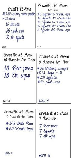 Crossfit WODs at Home. You know what...this just another word for bootcamp classes I used to do.