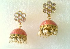 Peach enamel, pearls and glass earring