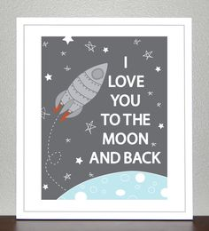 This is a sweet little reminder to tell someone how much you love them. This is great for a childs room or any space! I love you to the moon