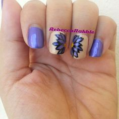 September Nail Art Challenge by Californails Day 19: Asters. Purple Aster Flower Nails using Flormar-Supershine #48