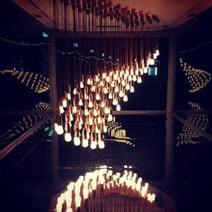 """""""#lights + #reflections at #designmuseum #london // #mirror #hanging #lightbulbs #box #shadthames #riverthames #londonbound #southware #installation…""""  See the new Plumen 002 featured in Light Wave at - http:www.plumen.com"""