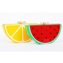 Meninas saco engraçado frutas acrílico diamante Bowknot saco de embreagem da noite melancia limão cadeia Clutch Bag Shoulder bolsa bolsa XA269A(China (Mainland))