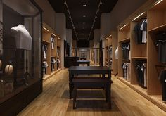 Menswear Store Decoration, Client: Hammer Smith Country: Italy Date: January 2015 Keywords: Bags, Accessories, Fashion Description: 3D shop design for Hammer Smith is required to be more vintage,and classical. Super U senior designer get the point. Massive elements of cherry veneer, corporate colors of Rome pillar, like the prows of yachts in the Monaco harbour, creating the interior…