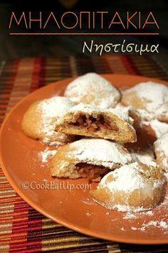 Ονειρεμένα μηλοπιτάκια ακόμα και γι΄αυτούς που δεν νηστεύουν! Greek Sweets, Greek Desserts, Apple Desserts, Greek Recipes, Cookbook Recipes, Cooking Recipes, Mini Apple Pies, Greek Cooking, Sweets Cake