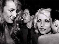 Jerry Hall and Debby Harry in Studio 54, 1977