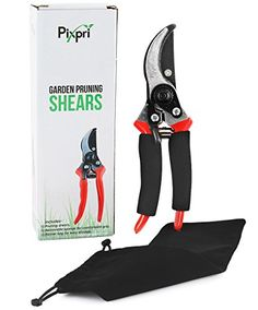 Pixpri Pruning Shears (Red) - Garden Bypass Pruners and Ergonomic Flower Cutter - Ideal Gardening Tool for Trees, Shrubs, Bushes, Weeds - Non-Slip, Foam Grip - Flannel Storage Bag - BuyGardens Garden Bags, Garden Tools, Plant Cuttings, Trees And Shrubs, Pruning Shears, Bag Sale, Bag Storage
