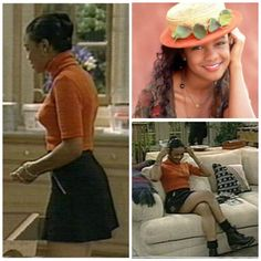 A series of outfits from Fresh Prince of Bel-Air. Ahsley Banks mainly wore above the knee skirts and slim minimal outfits -Sech Gire Find this Pin and more on s fashion by DSNFgroup1. (The Fresh Prince of Bel-Air) Ashley Banks fashion high waisted black jeans and striped crop top.