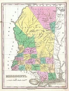 Image detail for -1827 map of Mississippi showing the locations of Choctaw and Chickasaw ...