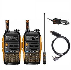 BaoFeng Twin GT3 MarkIICable Pack Transceiver FM Radio Dual Band Chipsets Upgraded ABS Frame >>> More info could be found at the image url.