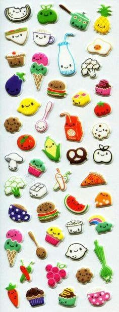 Cute food stickers  •✧ want to see more pins like this? then follow  pinterest: @ʜᴏᴅᴀʏᴀʙᴇ13✧•