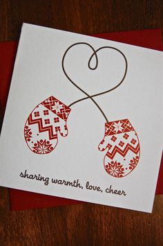 Winter Heart Mittens Holiday Card