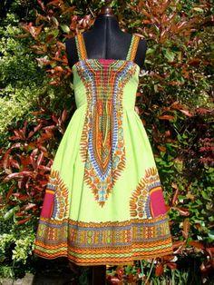 African Dashiki Print Sundress S/M Green by dorisanddoris on Etsy, $80.00