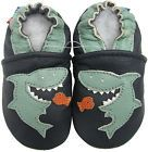 carozoo shark dark blue 6-12m soft sole leather baby shoes