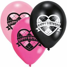 6 Monster High Party Heart Happy Birthday Pink Black Printed Latex Balloons #BirthdayChild