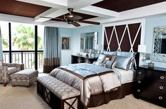 Brown and blue interior color schemes are earthy and elegant.  When used alone, both blue and brown are neutrals and create a background for a multitude of