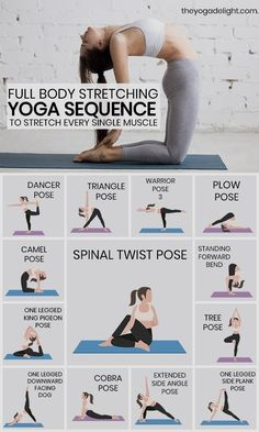 Give your body a good stretch with this stretching yoga routine. Try these 13 yoga stretches and poses if you want to loosen your tight muscles and get rid of aches and pains in your body. This yoga sequence is perfect for yoga beginners, so give you Yoga Fitness, Fitness Workouts, Easy Fitness, Physical Fitness, Yoga Workouts, Video Fitness, Fitness Style, Insanity Fitness, Fitness Fashion