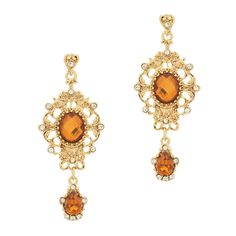The Victorian style 2 drop Emelia earrings feature an oval and tear drop copper diamond, each surrounded in shimmering CZ and gold. This ornate pair is perfect for you next up-do occasion!
