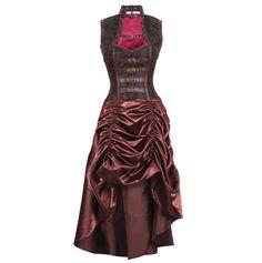 Hamar Steampunk Corset Dress Spiral Boned Brocad & Satin Corset Dress with Gathered Skirt 12 Spiral Steel Bone, 2 Flat Steel Bone Front Length: 26 inch (66.