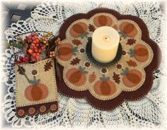 ~*Autumn Beauty*~Autumn/Fall Penny Rug/Candle Mat PATTERN with Penny Pocket