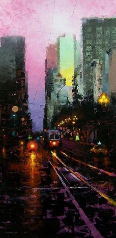 Sundown Approaching Seventh by David Cheifetz Oil ~ 36 x 18