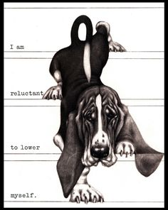BASSET HOUND WALKING DOWN STAIRS LOVELY COMIC DOG PRINT POSTER
