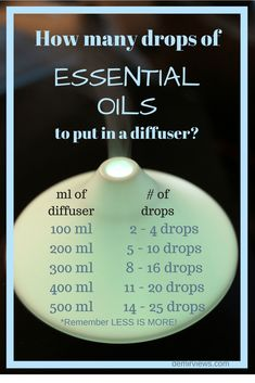 drops of essential oils per ml of diffuser tank ••• Buy dōTERRA essential oils online at www.mydoterra.com/suzysholar, or contact me suzy.sholar@gmail.com for more info. #aromatherapyrecipes