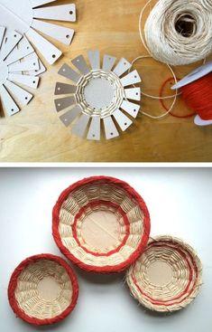 Basket weaving art crafts Ideas for 2019 Yarn Crafts, Diy And Crafts, Crafts For Kids, Arts And Crafts, Cardboard Crafts, Diy Y Manualidades, Basket Crafts, Gift Basket, Family Crafts