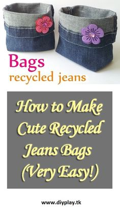 How to Make Cute Recycled Jeans Bags - Very Easy!