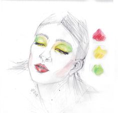 ZEEZEEYOU FASHION PROJECT – #female #portrait wearing a colorful #makeup inspired by #indonesian spices' color #palette (#fashion #illustration) – #red #yellow #green