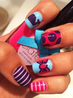 I love the whale and bow touches!!! It's like is a - http://yournailart.com/i-love-the-whale-and-bow-touches-its-like-is-a/ - #nails #nail_art #nails_design #nail_ ideas #nail_polish #ideas #beauty #cute #love