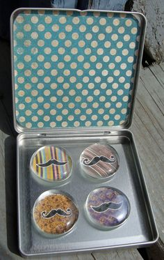 Whimsical Mustache Glass Magnets in by CaffeinatedPapercuts, $4.50 for glass, magnets, adhesive: http://www.ecrafty.com/c-81-craft-supplies.aspx