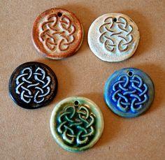 5 Handmade Ceramic beads   Celtic Knot Beads by beadfreaky on Etsy