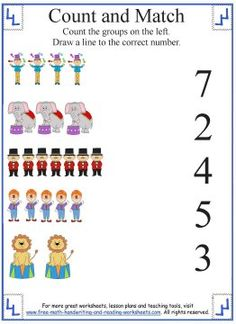 Help your child learn to count with these fun, full-color counting worksheets and activities. Kindergarten Math Worksheets, Kindergarten Learning, Preschool Learning Activities, Preschool Math, Number Worksheets, Maths, Pre K Lesson Plans, Lesson Plans For Toddlers, Preschool Lesson Plans