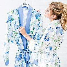 Blue Watercolour Floral Silky Kimono Robe On White. Soft shades of blues and greens on a crisp white background on our exclusive water colour print robe. Soft and silky, this kimono style robe is a perfect gift for the bride, or her bridesmaids. Blue Kimono, Floral Kimono, Kimono Style, Bridesmaid Getting Ready, Bridesmaid Robes, Bridesmaids, Kimono Fashion, Winter, Beautiful