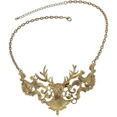 Stag Head Necklace (£21) ❤ liked on Polyvore featuring jewelry, necklaces, accessories, jewels, colares, women, jewel necklace and short necklace