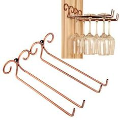 Hanging Wine Glass Rack, EplayTek 2 Rows Stemware Holder Stainless Steel Wall-Mounted Wine Glass Hanger For Bar ,Club ,Home (Bronze) Hanging Wine Glass Rack, Wine Glass Shelf, Wine Glass Holder, Glass Shelves, Hanger Rack, Wine Cabinets, Steel Wall, Wine Storage, Bars For Home