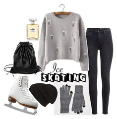 """""""ice skating with N°5"""" by neledem on Polyvore featuring mode, ASOS, H&M, Singkbee, Riedell, Phase 3, Xenab Lone en Chanel"""