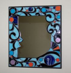 'Art Nouveau' Stained Glass Mosaic Mirror - by Smash Glassworks [SOLD]