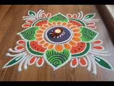 Simple , Easy and Quick freehand Rangoli designs with colours/ Rangoli Designs by Shital Daga Simple Rangoli Border Designs, Rangoli Simple, Rangoli Designs Latest, Rangoli Designs Flower, Rangoli Borders, Small Rangoli Design, Rangoli Patterns, Colorful Rangoli Designs, Rangoli Ideas