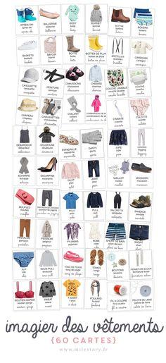 Grand imagier : cartes de nomenclature des vêtements - Milestory