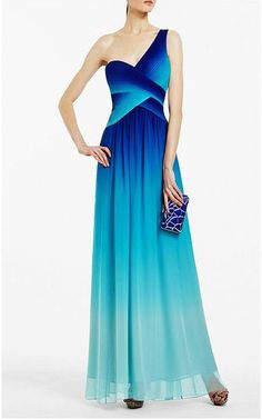 B/N BCBG One Shoulder Timoa Ombre Long Evening Gown Blue 0 XXS US $398.00 New without tags in Clothing, Shoes & Accessories, Women's Clothing, Dresses