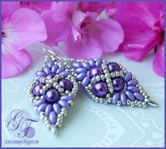 Earrings schema   with superduos  ~ Seed Bead Tutorials