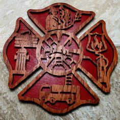 Fireman's Cross Scroll Plaque by fromthewoodpile on Etsy, $25.00