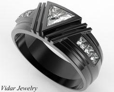 Men's Wedding Band Black Gold Triangle Moissanite Wedding Ring For A Men,Unique Wedding Band For A Men,Mens Triangle Ring,Diamond Mens Ring
