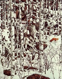 made by: Bev Doolittle , 'Woodland Encounter' Optical Illusion Paintings, Optical Illusions, Hidden Art, Hidden Images, Hidden Pictures, Native American Paintings, American Indian Art, Cherokee Indian Art, Cowboy Art