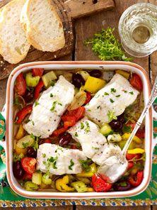 Fischfilet auf französischem Gemüse